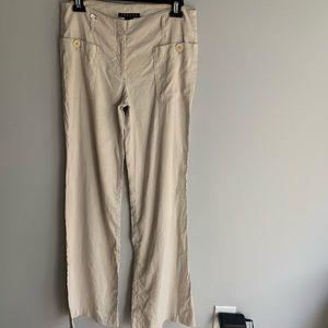 Theory Linen Tan Flare Leg Trousers Pants